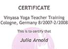 Zertifikat Vinyasa Yoga Teacher